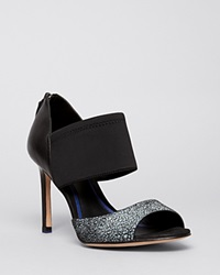 Elie Tahari Open Toe Platform Pumps Indra High Heel Nero Black Black