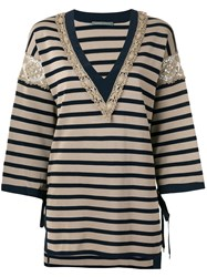 Alberta Ferretti Striped V Neck Jumper Brown