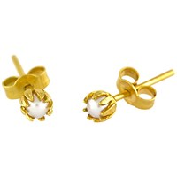 Alex Monroe 22Ct Gold Plated Sterling Silver Baby Pearl Bud Stud Earrings Gold