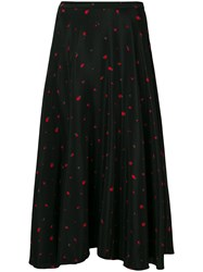 Chinti And Parker Strawberry Print Midi Skirt Black