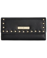Tommy Hilfiger Studded Pebble Leather Large Flap Wallet Black