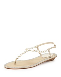 Rene Caovilla Crystal Trimmed Pearly Thong Sandal