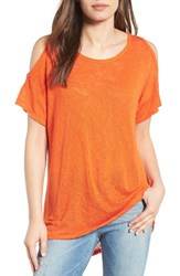 Bobeau Women's Cold Shoulder Slub Knit Tee Orange Spice