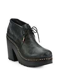 Rag And Bone Leather Platform Wedge Boots Black