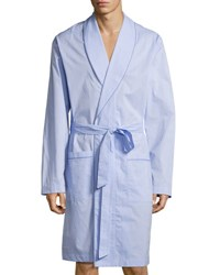 Hanro Ryan Collection Chambray Woven Robe Blue
