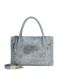 Foley Corinna Frankie Distressed Leather Satchel White Rock