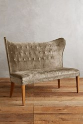 Anthropologie Slub Velvet Wingback Bench Armless Taupe