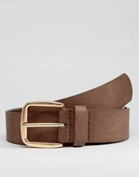 Asos Belt In Faux Leather Brown