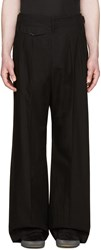 Christophe Lemaire Black Pleated Wide Leg Trousers