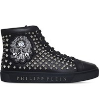 Philipp Plein Summertime Blues Studded Leather Trainers Black