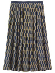 Toast Checkerboard Ikat Skirt Navy Gold