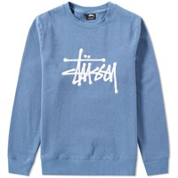 Stussy Chain Stitch Applique Crew Sweat Grey