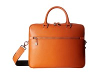 Bugatchi Saffiano Leather Two Tone Briefcase Orange Briefcase Bags