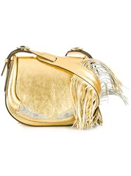 Roberto Cavalli Fringed Shoulder Bag Metallic