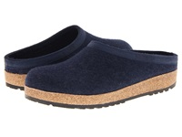 Haflinger Gzl Leather Trim Grizzly Captains Blue Clog Shoes