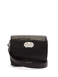 Alexander Mcqueen Box 21 Crocodile Effect Leather Cross Body Bag Black
