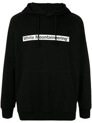 White Mountaineering Logo Patch Drawstring Hoodie Black