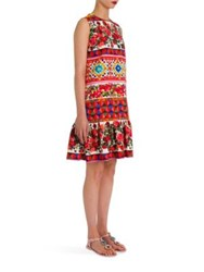 Dolce And Gabbana Printed Cotton Ruffle Hem A Line Dress Red Caretto