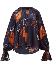 Roksanda Ilincic Pia Abstract Print Silk Satin Blouse Navy Multi