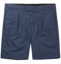 Engineered Garments Sunset Slim Fit Polka Dot Cotton Poplin Shorts Navy
