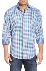 Thomas Dean Regular Fit Check Twill Sport Shirt Blue