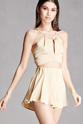 Forever 21 Satin Crop Top And Shorts Set Gold