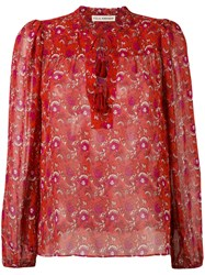 Ulla Johnson Amalie Blouse Women Silk Organza 2 Red