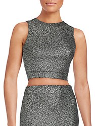 Saks Fifth Avenue Red Crewneck Sleeveless Cropped Top Black Gold