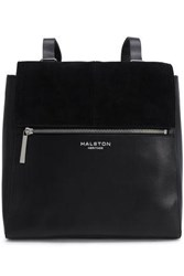 Halston Heritage Woman Suede Trimmed Leather Backpack Black