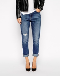 Whistles Distressed Tyler Jeans In Boyfriend Fit Blue