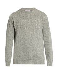 Brunello Cucinelli Half Cable Knit Wool Blend Sweater Light Grey