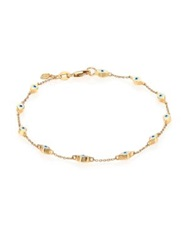 Sydney Evan Enamel And 14K Yellow Gold Mini Evil Eye Station Bracelet