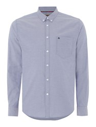 Merc Mens Long Sleeved Oxford Button Down Shirt Blue