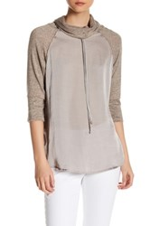 Hip Cowl Knit And Woven Sweater Beige