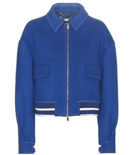 Stella Mccartney Cropped Wool Blend Jacket Blue