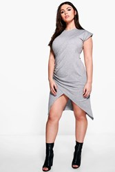 Boohoo Plus Rosie Ruched Side Wrap T Shirt Dress Grey Marl