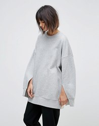 Weekday Split Cuff Sweatshirt Gray
