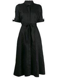 Equipment Waist Tied Flared Midi Dress Black