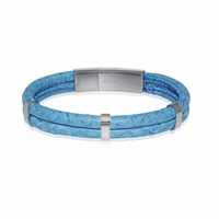 Marlin Birna Atlantic Salmon Leather Bracelet Double Cord Light Blue And Stainless Steel Blue Silver