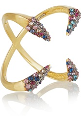 Katie Rowland 18 Karat Gold Plated Crystal Ring Metallic