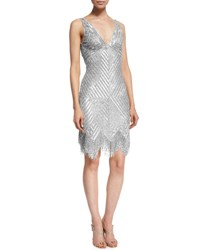 Naeem Khan Sleeveless V Neck Beaded Fringe Dress Silver