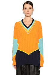 Maison Martin Margiela Color Block Cotton Jacquard Knit Sweater