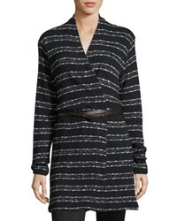 Three Dots Natasha Long Striped Cardigan Black