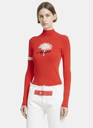 Alyx Palm Intarsia Roll Neck Sweater Red