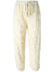 Twin Set Sequin Lace Trousers Nude And Neutrals
