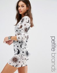 Missguided Petite Exclusive Star Print Mesh Dress White