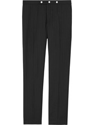 Burberry Classic Fit Pinstriped Wool Tailored Trousers Black