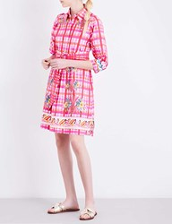 Peter Pilotto Printed Cotton Poplin Shirt Dress Check Pink