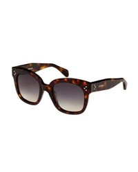 Celine Square Polarized Acetate Sunglasses Blue Pattern Brown Pattern