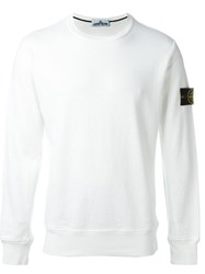 Stone Island Logo Patch Sweatshirt White